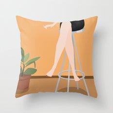 Girl on Stool Throw Pillow