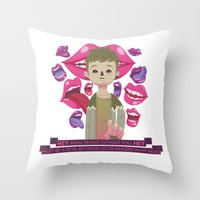 pixies Throw Pillows featuring Illustrated Songs - Hey by Cristian Barbeito