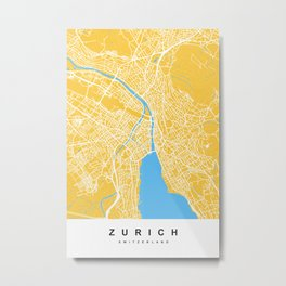 Zurich - Switzerland   Yellow & Blue   More Colors, Review My Collections Art Print Metal Print