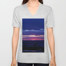 Purple Sunset over Sea Unisex V-Neck
