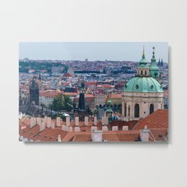 St. Nicolas church and roofs of Prague Metal Print