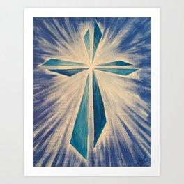 Radiant Blue Cross Art Print