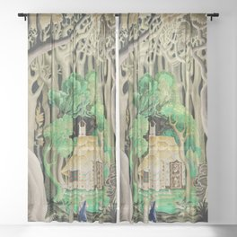 1925 Classical Masterpiece 'Hansel and Gretel by Brothers Grimm' by Kay Nielsen Sheer Curtain