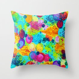 TIME FOR BUBBLY - Colorful Bright Bold Abstract Acrylic Painting, Turquoise Royal Blue Magenta Throw Pillow