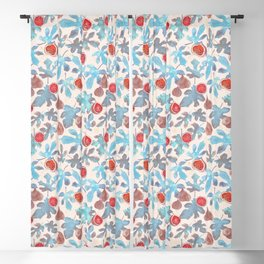 Watercolor Fruit Figs and Leaves Blackout Curtain