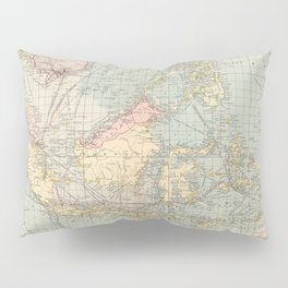 Vintage Map of Indonesia and The Philippine Ports (1905) Pillow Sham