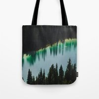 allyson johnson Tote Bags featuring Johnson Lake by SachelleJuliaPhotography