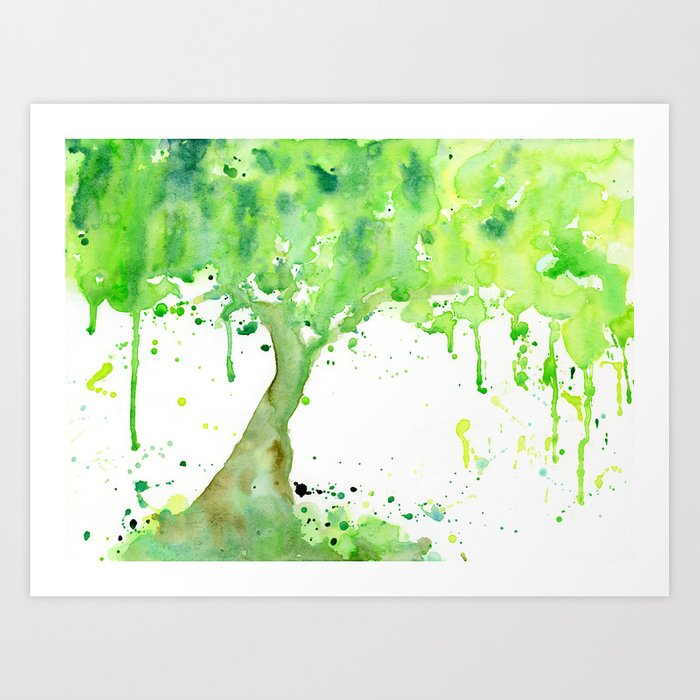 Watercolor Spring Tree Abstract Paint Splatter Art Print By Chengjing