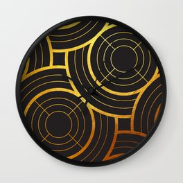 Art Deco Round And Round In Black Wall Clock