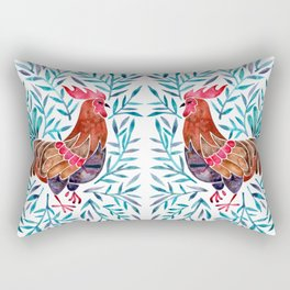 Le Coq – Watercolor Rooster with Turquoise Leaves Rectangular Pillow