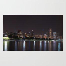 Chicago night skyline, Usa. Rug