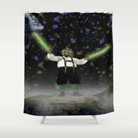 ewok Shower Curtains featuring YODA-ling with FORCE - 027 by Lazy Bones Studios