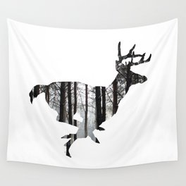 Deer forest winter silhouette Wall Tapestry