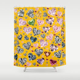 Heart Diamonds are Forever Love Yellow Shower Curtain
