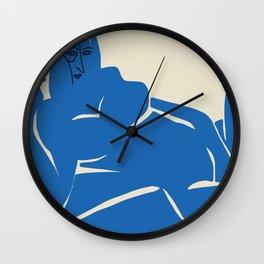 Reclining nude vlue cut out Wall Clock