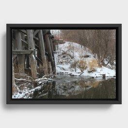Winter River-Train Bridge Photo  Framed Canvas