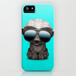 Cute Baby Honey Badger Wearing Sunglasses iPhone Case