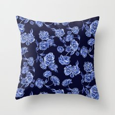 Porcelain Floral Throw Pillow