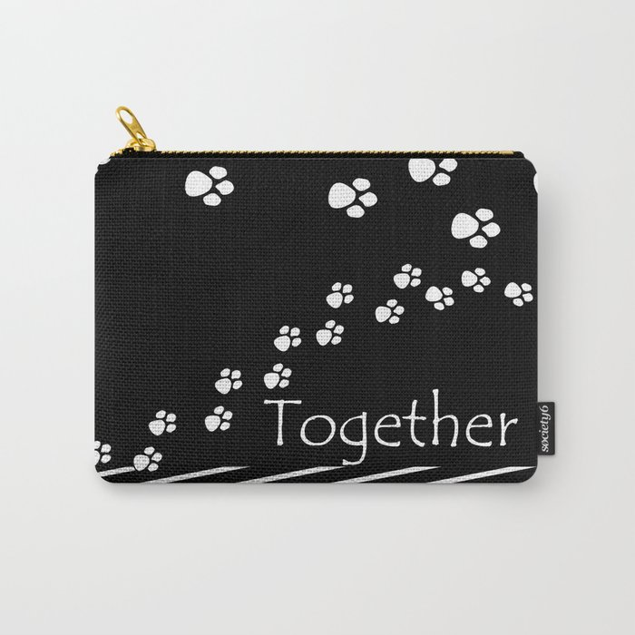 Together ! Black and white illustration . Carry-All Pouch