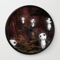 kodama Wall Clocks featuring Princess Mononoke - The Kodama by pkarnold + The Cult Print Shop