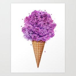 Ice cream with lilac Art Print