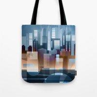 metropolis Tote Bags featuring Metropolis by Herb Vaine