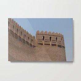 Tower Yazd City Walls Castle, Persia, Iran Metal Print