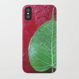 Leaf on red iPhone Case