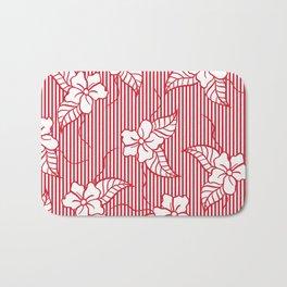 Fashion red flame scarlet white floral hand drawn geometric stripes pattern Bath Mat