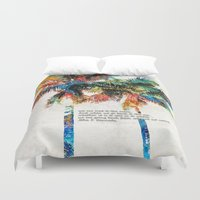 jfk Duvet Covers featuring Colorful Palm Trees - Returning Home - By Sharon Cummings by Sharon Cummings