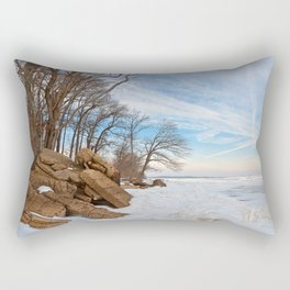 Rustic Winter Beach Rectangular Pillow