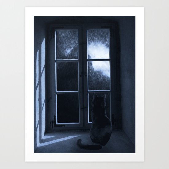 Watching the rain Art Print