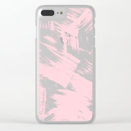 Blush pink white modern watercolor brushstrokes Clear iPhone Case