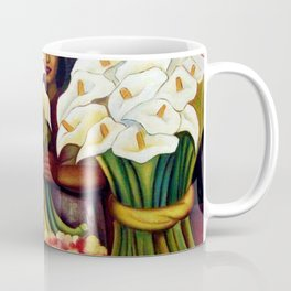 1938 Classical Masterpiece 'Alcatraces Flower Seller' by Diego Rivera Coffee Mug