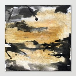 Black and Gold Brush Stroke Abstract Canvas Print