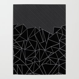 Ab Lines 45 Grey and Black Poster