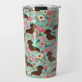 Doxie Florals - vintage doxie and florals gift gifts for dog lovers, dachshund decor, chocolate and Travel Mug