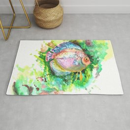 Aquarium Fish, Green Rainbow colors, Discus, Pink Green Illustration Rug