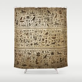 Ancient Egyptian hieroglyphs - Vintage and gold Shower Curtain