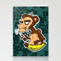 monkey island Stationery Cards featuring Groovy Monkey by Groovy Gangster