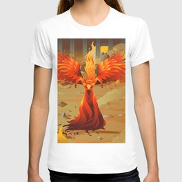 fire elemental fantasy winged creature on wastelands T-shirt