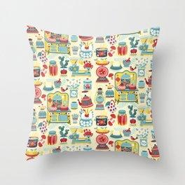 Hobby Kitchen Illustration Pattern Throw Pillow