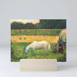 "Georges Seurat ""Paysage avec cheval (Landscape with a white horse)"" Mini Art Print"