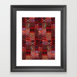 N246 - Red Oriental Berber Traditional Boho Moroccan Collage Framed Art Print