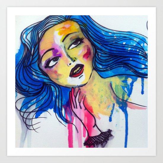 blue haired girl Art Print