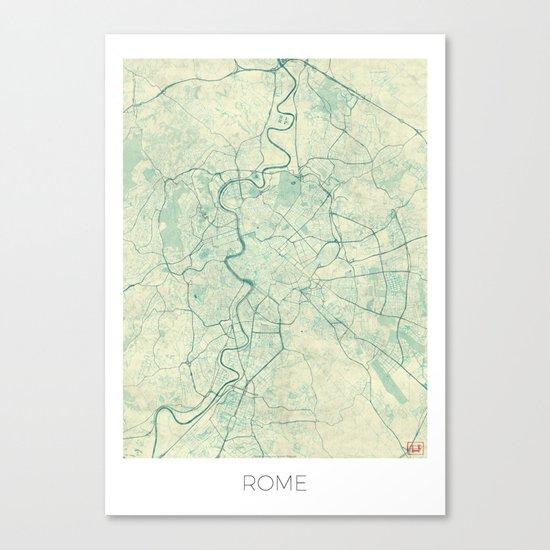 Rome Map Blue Vintage Canvas Print