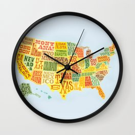 United States of America Map Wall Clock