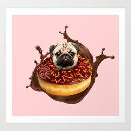 Pug Succulent Chocolate Donut Art Print