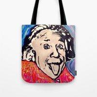 einstein Tote Bags featuring Einstein by Paola Gonzalez