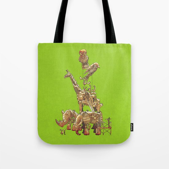 The Clockwork Menagerie (Lime) Tote Bag
